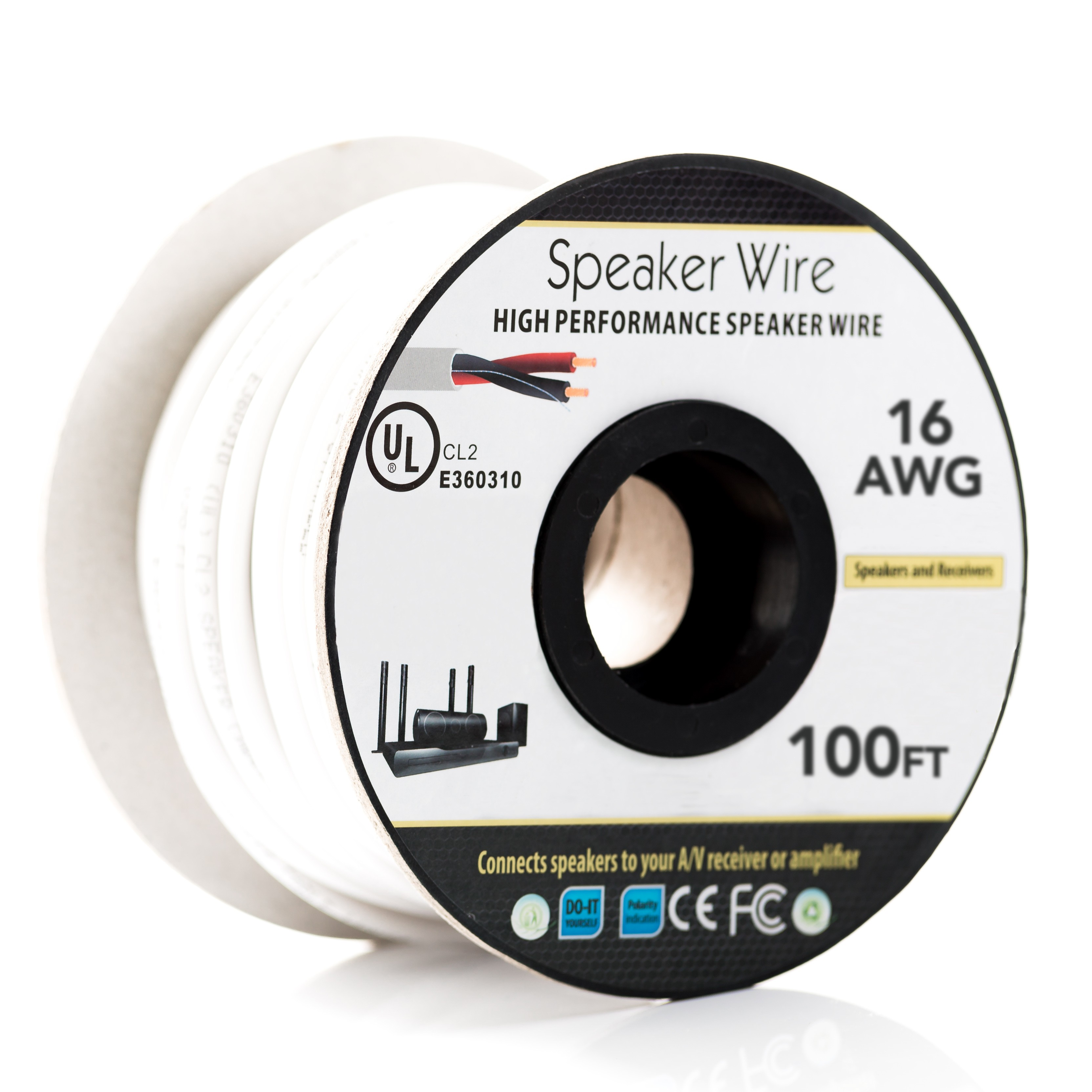100Ft 16AWG/2C In-wall Speaker Wire, OFC CL2 UL OD-6.2mm White Jacket