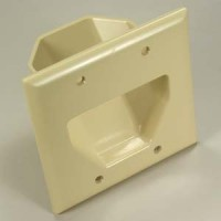 2-Gang Recessed Low Voltage Cable Plate, Ivory