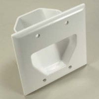 2-Gang Recessed Low Voltage Cable Plate, White
