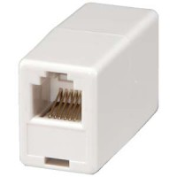RJ12 Modular Inline Coupler Straight, White