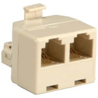 RJ11 1M/2F Modular T Adapter, Ivory Color