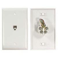RJ11 Modular Single Port Wall Plate White, Smooth Face