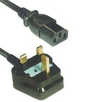 6Ft UK Power Cord Black H05VV-F0.75/3G SF-06+82