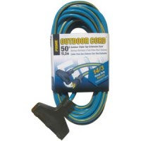 50Ft 14/3 3-Tap Blue & Yellow Outdoor Extension Cord