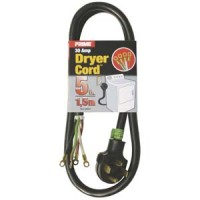 5Ft 10/4 30 Amp Black 4-Wire Dryer Cord