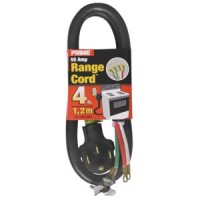 4Ft 6/2 & 8/2 50 Amp Black 4-Wire Range Cord