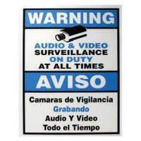 "Surveillance Warning Sign English/Spanish Blue 7""x9"""