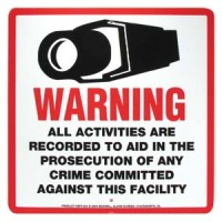 "Surveillance Warning Sign English 10.5""x10.5"""