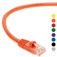 0.5 FT Ethernet Cable CAT5E Cable UTP Booted - Orange - Professional Series - 1Gigabit/Sec Network / Internet Cable, 350MHZ