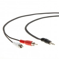 25Ft 3.5mm Stereo Plug to 2xRCA-M Cable