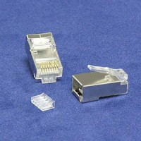 InstallerParts RJ45 Cat 6 Shielded Plug Solid 50 Micron 3-Prong w/Inserter 20pk
