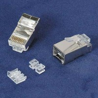 InstallerParts RJ45 Cat 6A Shielded Plug Stranded 50 Micron 3pc type 100pk