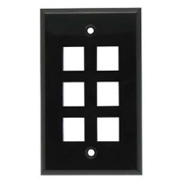 6Port Keystone Wallplate Black Smooth Face