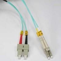 InstallerParts 8m LC-SC 10Gb 50/125 OM3 M/M Duplex Fiber Cable Aqua Jacket