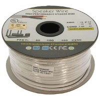 250Ft 14AWG/2C In-wall Speaker Wire, OFC CL2 UL OD-7mm White Jacket