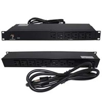 "19"" 1U Rackmount 14-Outlet PDU Metal Case 6Ft Power Cord AC125V 15A (12A UL)"