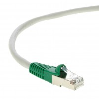 3Ft Cat.6 Shielded Crossover Cable Gray Wire/Green Boot