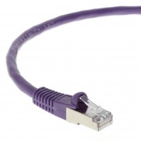 0.5Ft CAT 6 Shielded (SSTP) Ethernet Network Booted Cable Purple - Professional Series - 50 Micron Gold Plated RJ45 Connectors - Ethernet Data Network