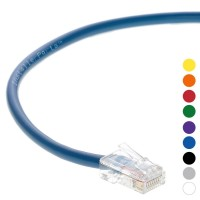 0.5 Ft CAT 6 Non-Boot Patch Cable Blue -- Professional Series -- 50 Micron Gold Plated RJ45 Connectors -- Ethernet Data Network
