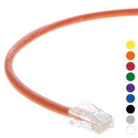 0.5 Ft CAT 6 Non-Boot Patch Cable Orange -- Professional Series -- 50 Micron Gold Plated RJ45 Connectors -- Ethernet Data Network