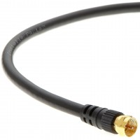 3Ft F-Type Screw-on RG6 Cable Black Gold Plated