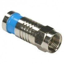 F Male Quad Shield RG6 Compression Connector Blue