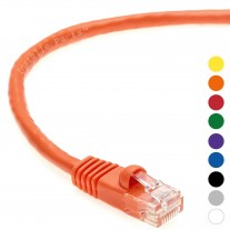 1 FT Ethernet Cable CAT5E Cable UTP Booted - Orange - Professional Series - 1Gigabit/Sec Network / Internet Cable, 350MHZ