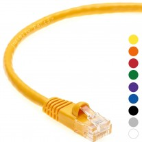 1 FT Ethernet Cable CAT5E Cable UTP Booted - Yellow - Professional Series - 1Gigabit/Sec Network / Internet Cable, 350MHZ