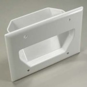 3-Gang Recessed Low Voltage Cable Plate, White