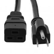 Otimo 3 Ft  Power Cord 5-15 to C19 Black/ SJT 14/3