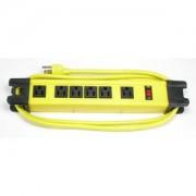 6Ft Heavy Duty Metal Case Power Strip, 4 + 2 Power Supply