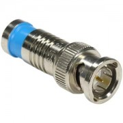 BNC Male Quad Shield RG59 Compression Connector Blue