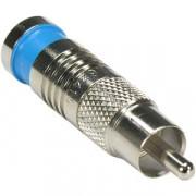 RCA Male Quad Shield RG6 Compression Connector Blue