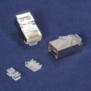 InstallerParts RJ45 Cat 6A Shielded Plug Solid 50 Micron 3pc Type 100pk