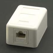 Cat.5E 1-Port Surfacemount Box White w/keystone Jack