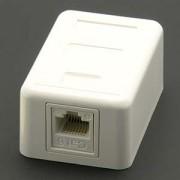 Cat.6 1-Port Surfacemount Box White w/Keystone Jack