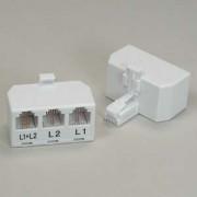 RJ11 6P4C Line Splitter, Line1/Line2/Line1+Line2