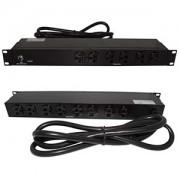 "19"" 1U Rackmount 14-Outlet PDU Metal Case 6Ft Power Cord AC125V 20A (16A UL)"