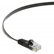 35 Ft Cat 6 Flat Patch Cable Black -- Professional Series -- 50 Micron Gold Plated RJ45 Connectors -- Ethernet Data Network