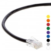 7 Ft CAT 6 Non-Boot Patch Cable Black -- Professional Series -- 50 Micron Gold Plated RJ45 Connectors -- Ethernet Data Network