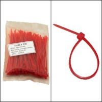 """InstallerParts 4"""" Nylon Cable Tie 18lbs Red 100pk"""