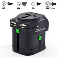 World Power Adapter Travel with Dual USB Charging Ports -- Works in over 200 Countries!